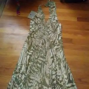 Green and off white dress